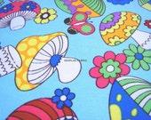 Clearance -- Full Yard -- 91 cm x 150 cm -- - Fantastic Colroful Mushrooms in Light Sky Blue -- Cotton Twill --EK-QS38277C