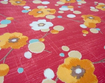 Sale -- Pretty Plum Blossom Flowers in Red, Pretty Flower Fabric, Japanese Cotton, Full Yard