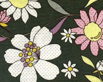 Sale - Blossom Large Floral with Spots in Dark Green , Full Yard  ,EK-QS27102A