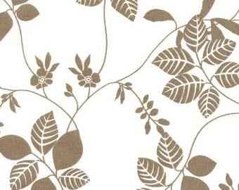 2 yards Sale - Beautiful Tan Leaf Vines in White-Half Yard--EK-QS26117