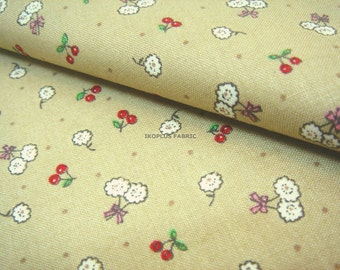 Sale -- Tiny Flower and Sweet Cherry in Khaki -- EK-QS38223A