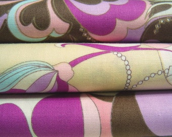 Save -- Flower Chain Brown and Purple Bundle, Flower Fabric, 3 Full Yards Bundle -- Japanese Cotton