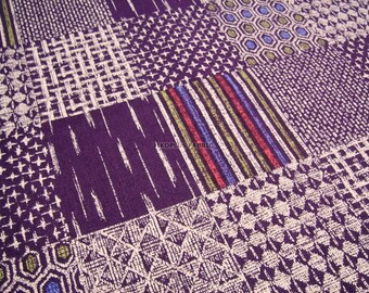 Ethnic Patchwork Fabric in Purple Combo , Check Design Fabric -- EK-QS38262A