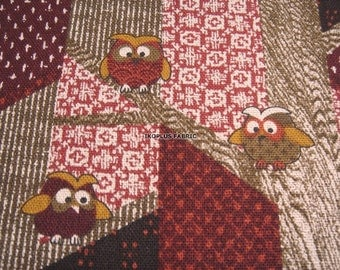 Kawaii Traditional Woodland Owls Fabric Dk. Red Combo -- Patchwork -- EK-QS38272A