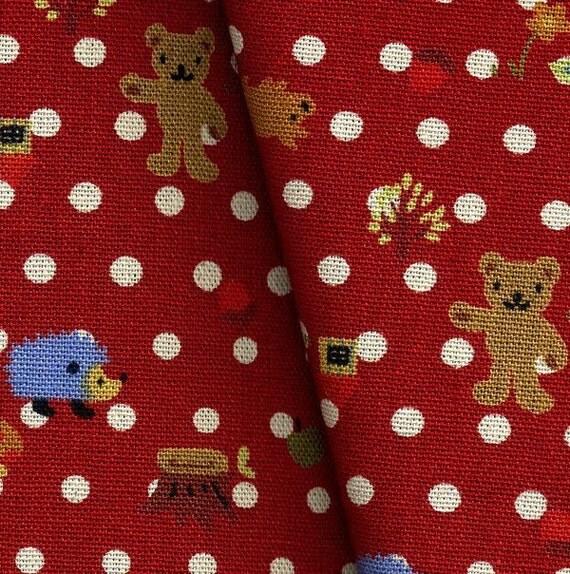 Forest Little Cute Animals in Red-Fat Quarter-EK-QS29517B