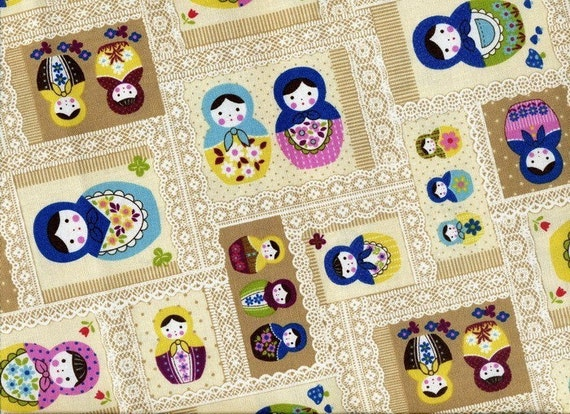 Sale -- Kawaii Matryoshka Dolls Patchwork with Lace Print in Beige  -  Cotton  -  EK-QS33607C