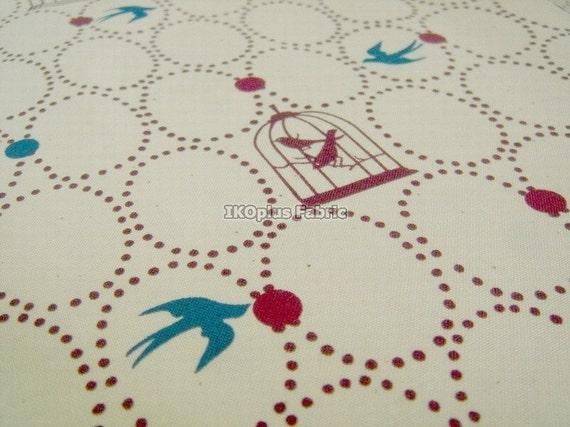 Sale - Free Birds in Beige - Japanese Cotton - EK-QS38167A