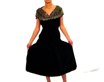 Vintage Dinner Dress, Party Dress Black Tafetta with Gold Embossed Trim