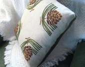Craftsman Mission Style Pine Cone Hand Embroidered Pillow