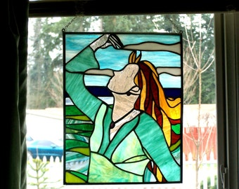 Portrait of an Artist Stained Glass Panel