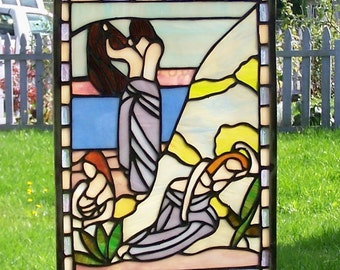 Ladies on the Beach Stained Glass Panel