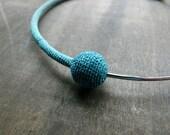 Handcrocheted mixed threads choker