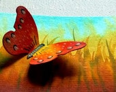 Happy butterfly- original watercolor - ACEO- 3D