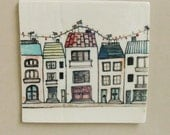 Christmas in the village small porcelain tile