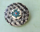 Collage flower-japanese pattern porcelain brooch