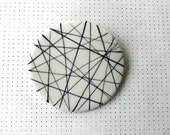 Crossing lines porcelain brooch XL