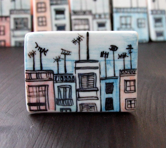 Roofs And Antennas Porcelain Rectangle Brooch