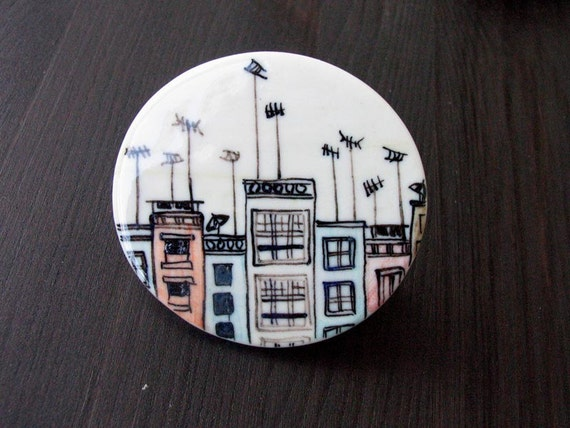 Roofs and antennas porcelain circle brooch 2