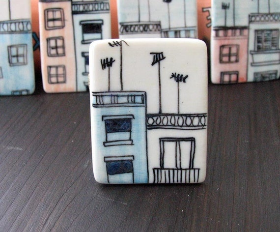 Roofs and antennas porcelain rectangle brooch 2