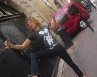 t-shirt BAD MICKEY dark grey tshirt rock, tshirt funny, hungry mickey