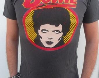 David Bowie Pop Art Charcoal Black Indie Punk Rock T-Shirt Size S