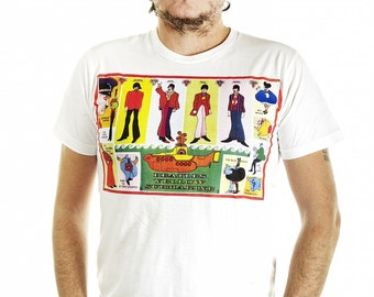 The BEATLES yellowsubmarine psychedelic Rock Pop  Men  T-Shirt Size S/M