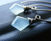 Gemstone Earrings with Seafoam Blue Chalceony Oxidized Sterling Silver, Clear Sailing