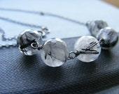 Rutilated Quartz and Oxidized Sterling Silver Gemstone Necklace Modern Minimalist Women's Fashion, Tornado II