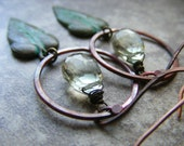 Prasiolite Green Amethyst, Rosy Copper Hoops and Verdigris Patina Brass Ivy Leaves Autumn Fall Fashion, Photosynthesis Earrings