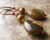 Rainforest Jasper Bronze Freshwater Pearl Peridot Rosy Copper Earrings Rustic Mother's Day Womens Fashion, Forest Floor