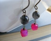Rutilated Quartz Hot Pink Chalcedony and Natural Antiqued Brass Gemstone Earrings, Retro