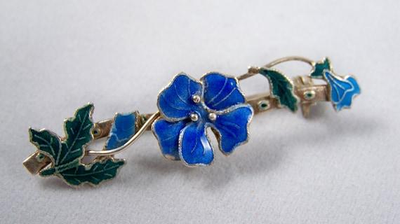 Vintage Sterling Silver Enamel Brooch 1950s Blue Petunia Flower Design
