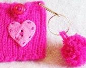Hot Pink Tinsel Heart Hand Knit iPod Nano New 6th Generation Cozy, Holder Sleeve Case Bright Raspberry Magenta Spring Birthday Pom Pom