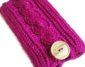 Sparkling Fuchsia Cable Knit iPhone Droid Android Smartphone iPod Touch Cozy, Case Holder Sleeve Button Cabled Faux Wood Pink Magenta
