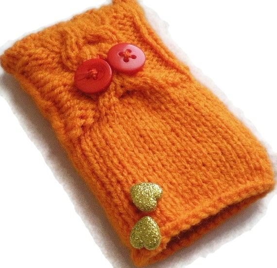 Light Orange Owl Cable Knit iPhone, iPod Touch/Smartphone Cozy Hand Knit Handmade Case Holder Heart Buttons Sleeve Hand Knitted