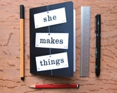 Crafter's notebook she makes things A6 plain paper journal sketchbook vintage flash cards word typography photograph Typescale stationery