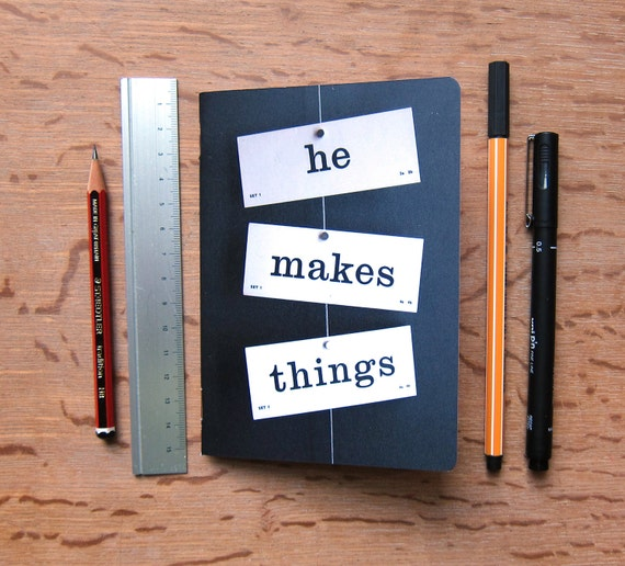 Crafter's notebook he makes things A6 plain paper journal sketchbook vintage flash cards word typography photograph Typescale stationery