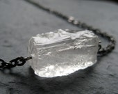 Ice Cube - Natural Rough Hammered Crystal Quartz Necklace