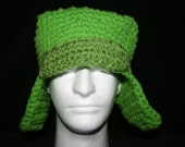 Very unique square top winter hat inspired by the hat Kyle wears on South park Lime green