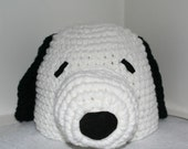Handmade dog hat  - white with black ears - inspired by Snoopy