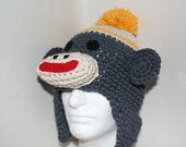 ALL COTTON YARN sock monkey hat - unique handmade character hat made to look like a sock monkey in gray and yellow
