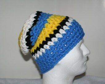 Super thick striped slouch hat inspired by the hats the Swedish olympic team wore opening night  In Vancouver 2010