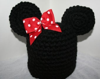 New handmade black winter hat  with mouse ears - child to pre teen size