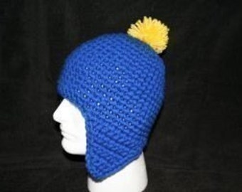 Handmade winter hat royal blue with ear flaps and a canary pom pom looks like the hat Craig wears on South park