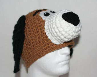 Crochet beagle dog hat for baby - fun winter hat brown white and black- currently made to order