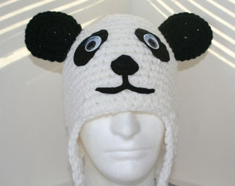 Adult size panda bear hat -handmade crochet character hat made to look like a panda bear - currently made to order