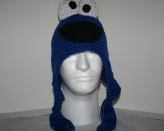 Adult size handmade crochet character hat with ear flaps and tassels - warm fun and unique