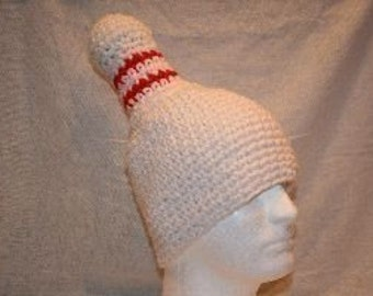Bowling pin hat - gift for bowler or bowling fan crocheted fun and unique