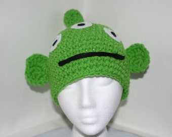 Adult size 3 eyed alien character hat  - Lime green winter hat  - currently made to order