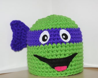 Fun and unique PURPLE Ninja turtle handmade crocheted character winter hat